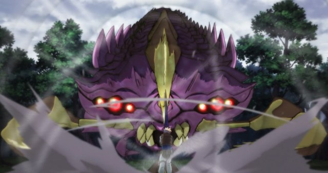 Infinite Dendrogram Episode 1 Ray with Nemesis as Sword Fighting Giant Centipede