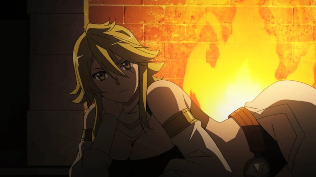 Akame ga Kill Episode 12 Leone in front of the Fire