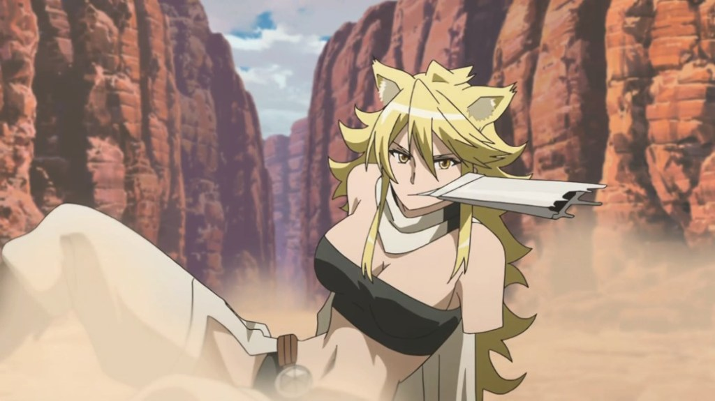 Akame ga Kill Episode 16 Leone bitting Rubicante