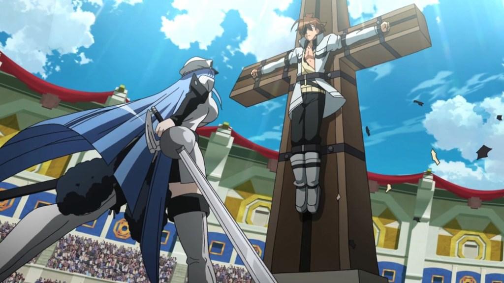 Akame ga Kill Episode 21 Esdeath about to execute Tatsumi