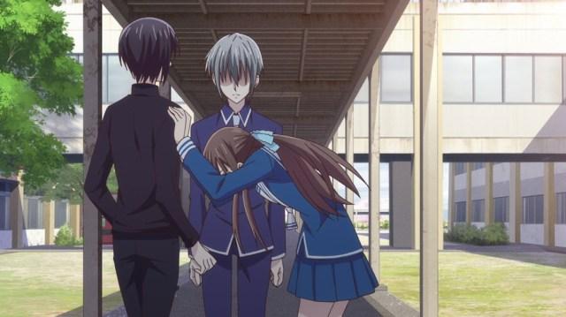 Fruits Basket Episode 12 Tohru pushing Akito away from Yuki
