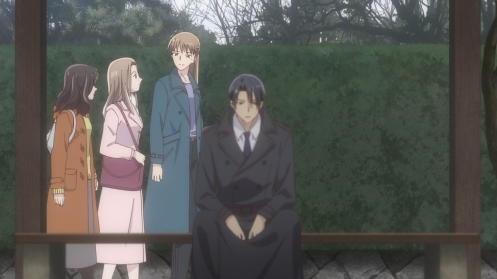 Fruits Basket Episode 7 Hatori sitting on a bench as Kana walks past