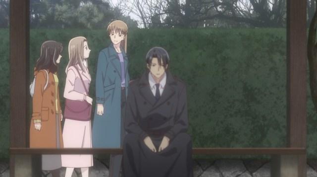 Fruits Basket Episode 7 Hatori sitting on a bench as Kana walks past