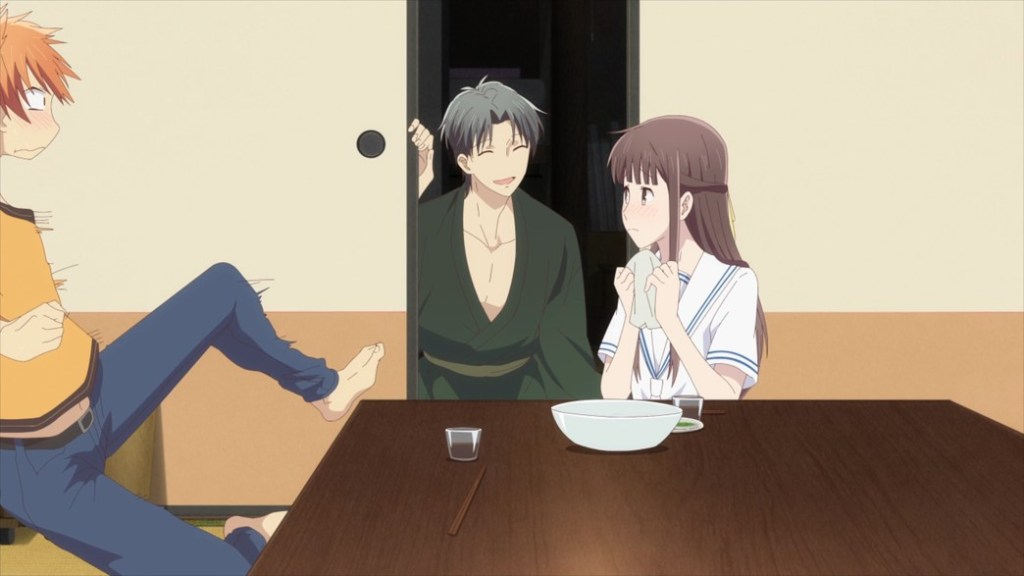 Fruits Basket Episode 27 Shigure surprises Kyo and Tohru