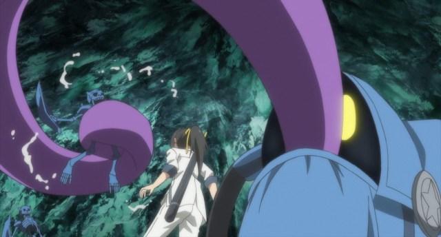 Shachibato President it's time for battle Episode 8 Makoto's backpack eating Skeleton Majus