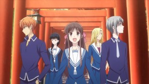 Fruits Basket Episode 42 Tohru Kyo Yuki Arisa and Saki in Kyoto
