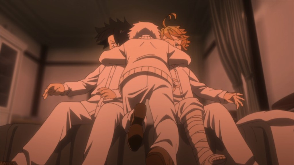The Promised Neverland Episode 10 Norman hugs Emma and Ray