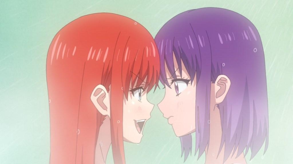 Iwakakeru Sport Climbing Girls Episode 9 Konomi and Anne Kurusu facing off in the shower