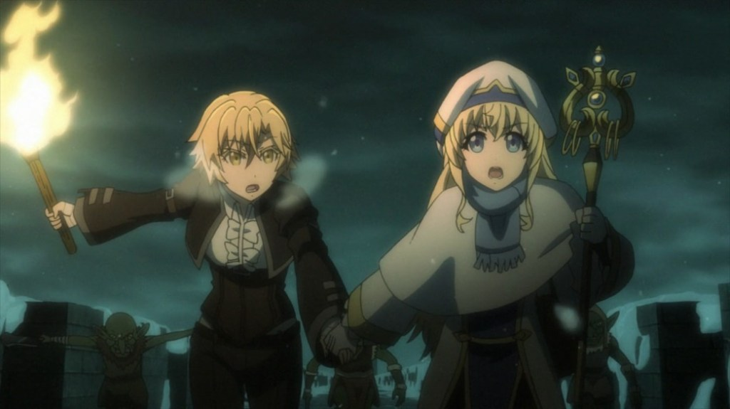 Goblin Slayer Goblin's Crown Noble Fencer and Priestess running from Goblins