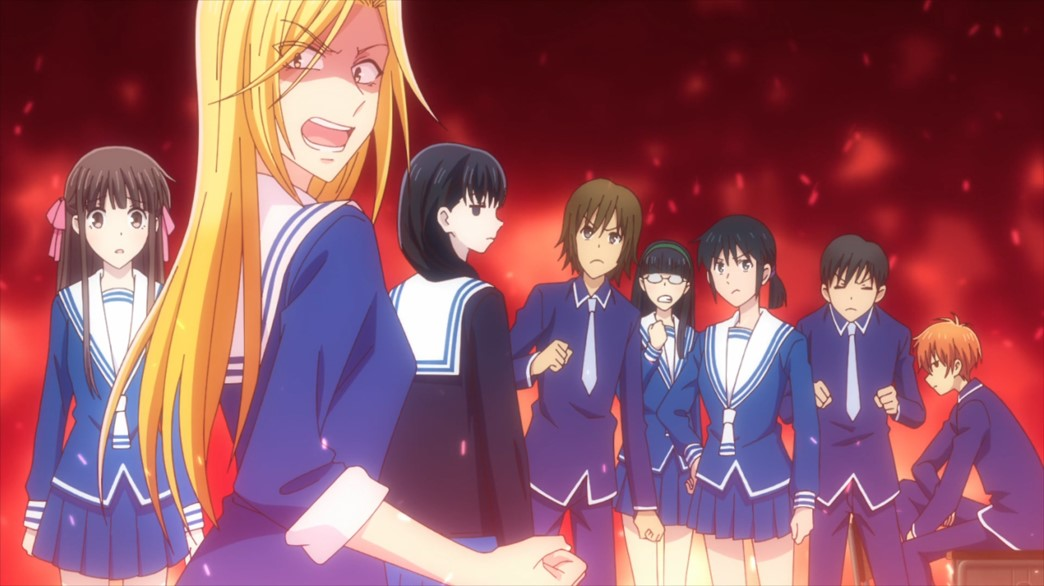 Fruits Basket Episode 52 Arisa and Saki go after the flower thieves