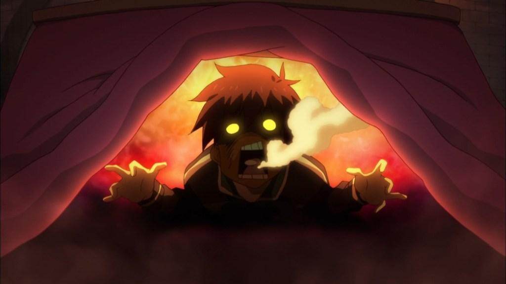 KonoSuba Episode 17 Kazuma under his kotatsu