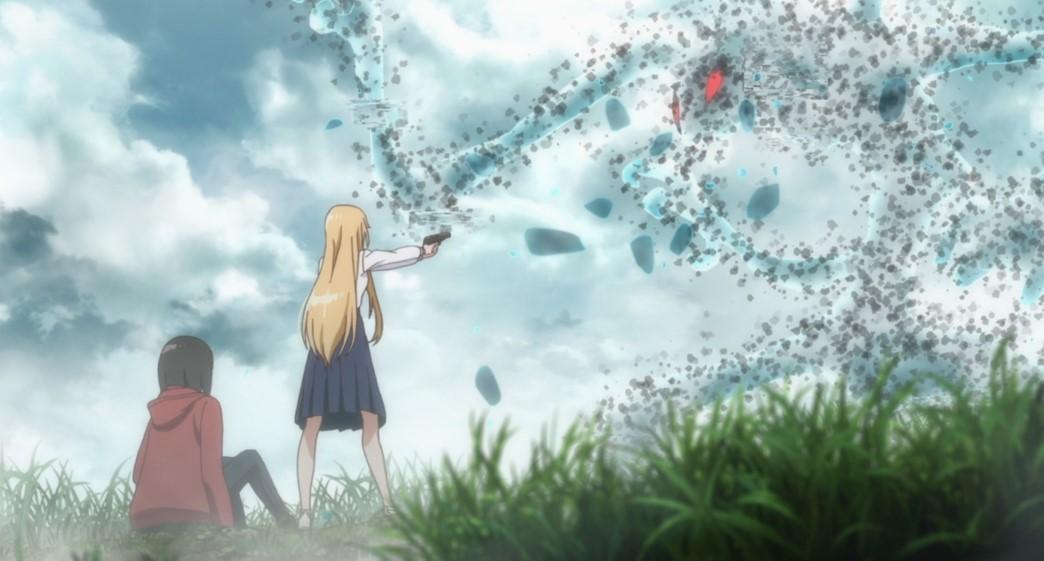 Otherside Picnic Episode 1 Sorawo Kamikoshi and Toriko Nishina fighting the Wiggle-Waggle