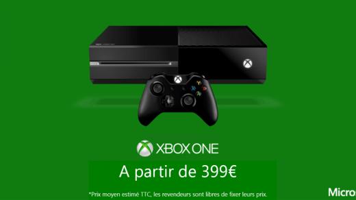 Xbox One sans Kinect. 399€.