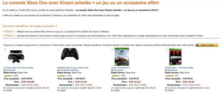 Xbox One + Kinect + 1 jeu (ou accessoire) pour 449€ !