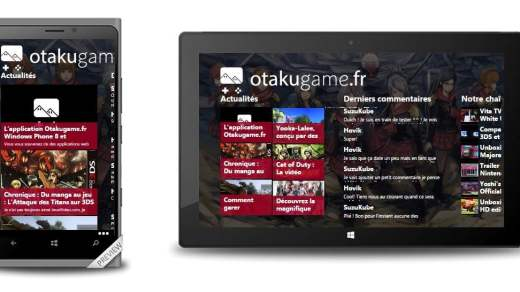 Nos deux applications Windows 8.1 et Windows Phone 8 d'actualité du jeu vidéo !