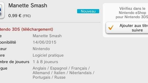 L'application Manette Smash coûte 1€. Merci Nintendo...