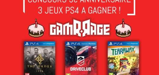 GamrRage vous propose de gagner 3 jeux PS4 !