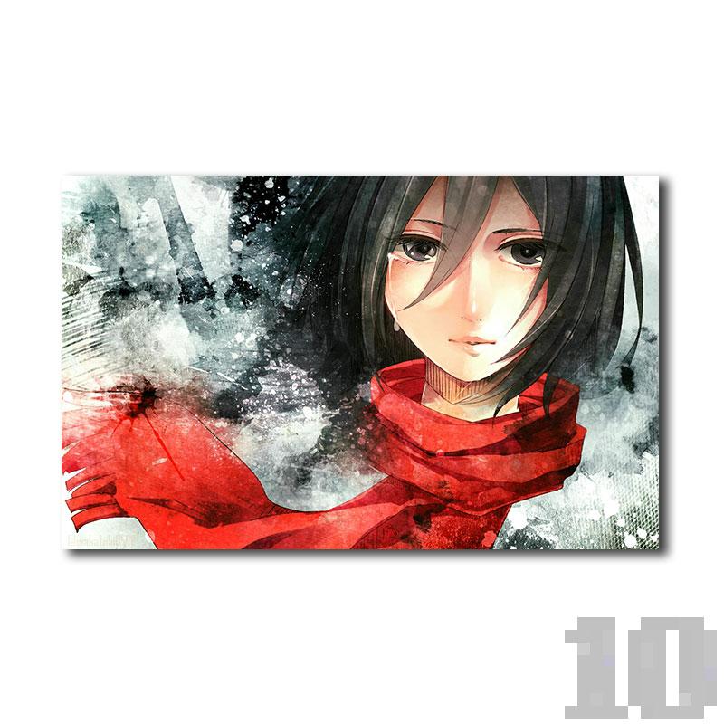 Poster attaque des titans pleurs de Mikasa