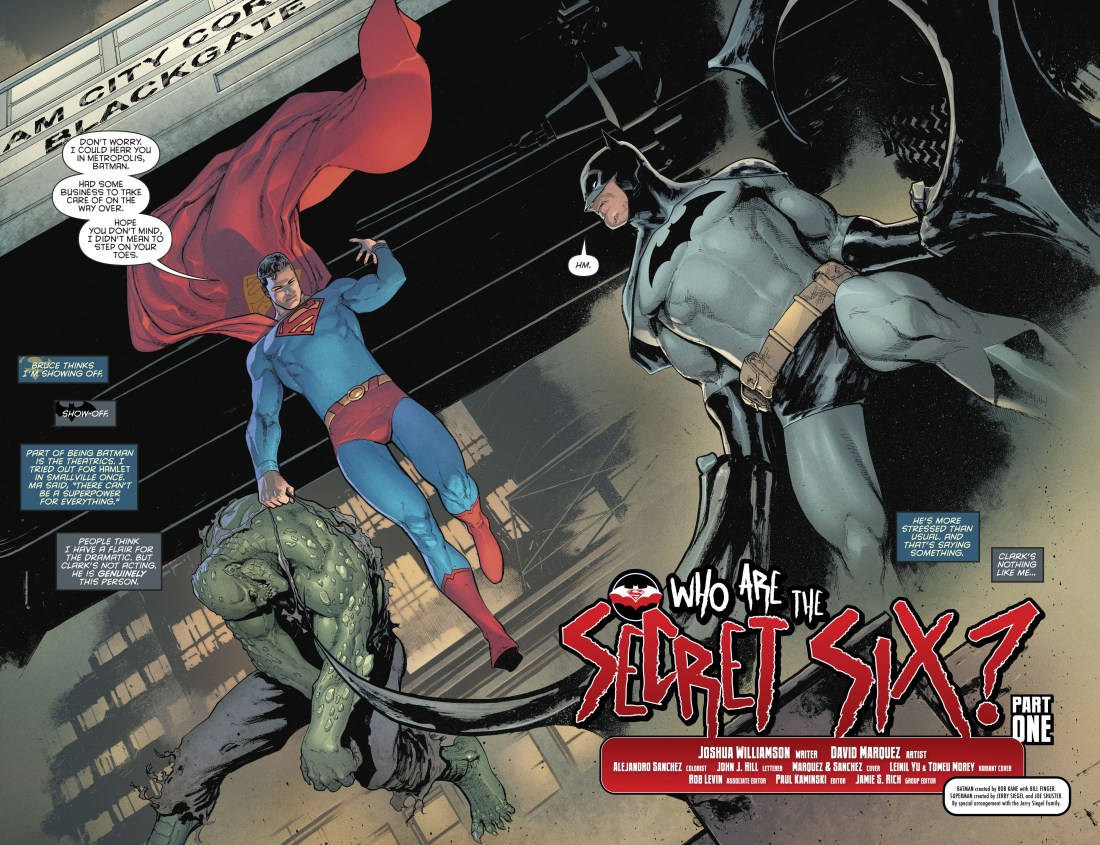Batman and Superman in Gotham. Who are the secret six?