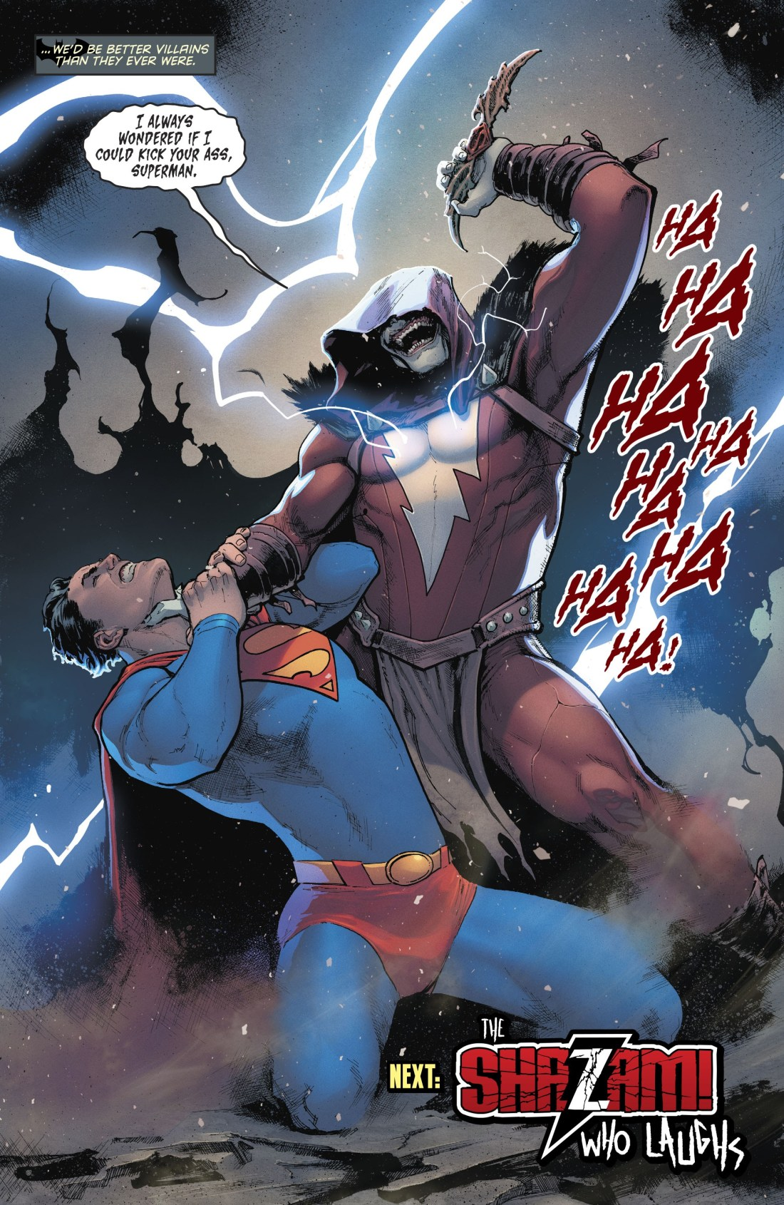 Superman being choked by the Shazam who laughs.