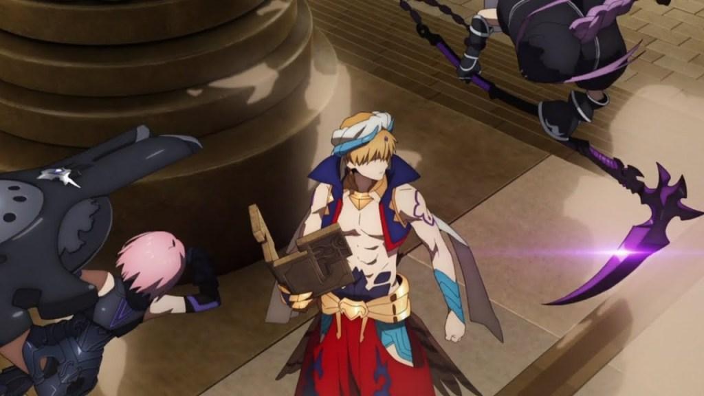King Gilgamesh fights Ana and Mash in episode 3 of Fate Grand Order Zettai Majuu Sensen Babylonia.