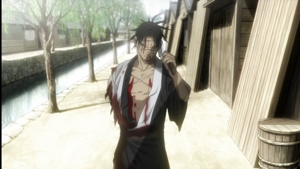 In Episode 3 of Blade of the immortal, Manji with out his arm prepares for battle with Makie