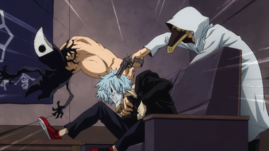 In My Hero Academia Season 4 - Episode 5, Mimic and Chronostasis attacking Tomura.