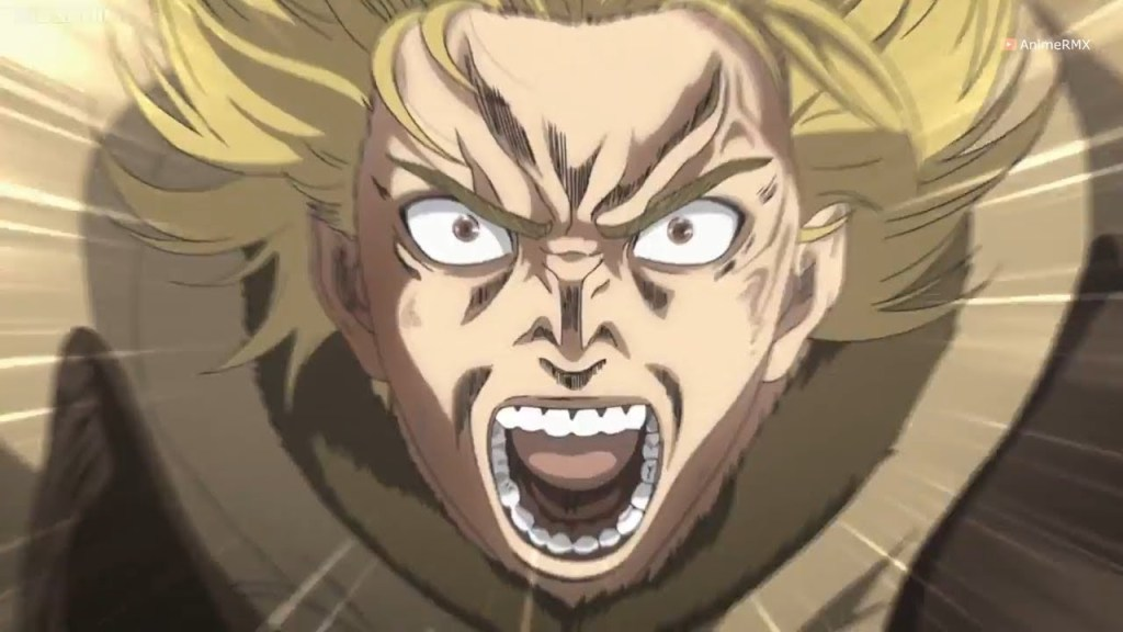 Season 1, Episode 17 of Vinland Saga. Thorfinn enraged at the though of someone else killing Askeladd