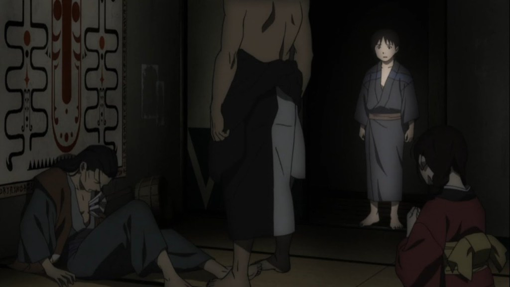 Season 1, Episode 6: Act Six – Wing Roots. Araya dead, Rin on the floor, Manji and Renzo standing