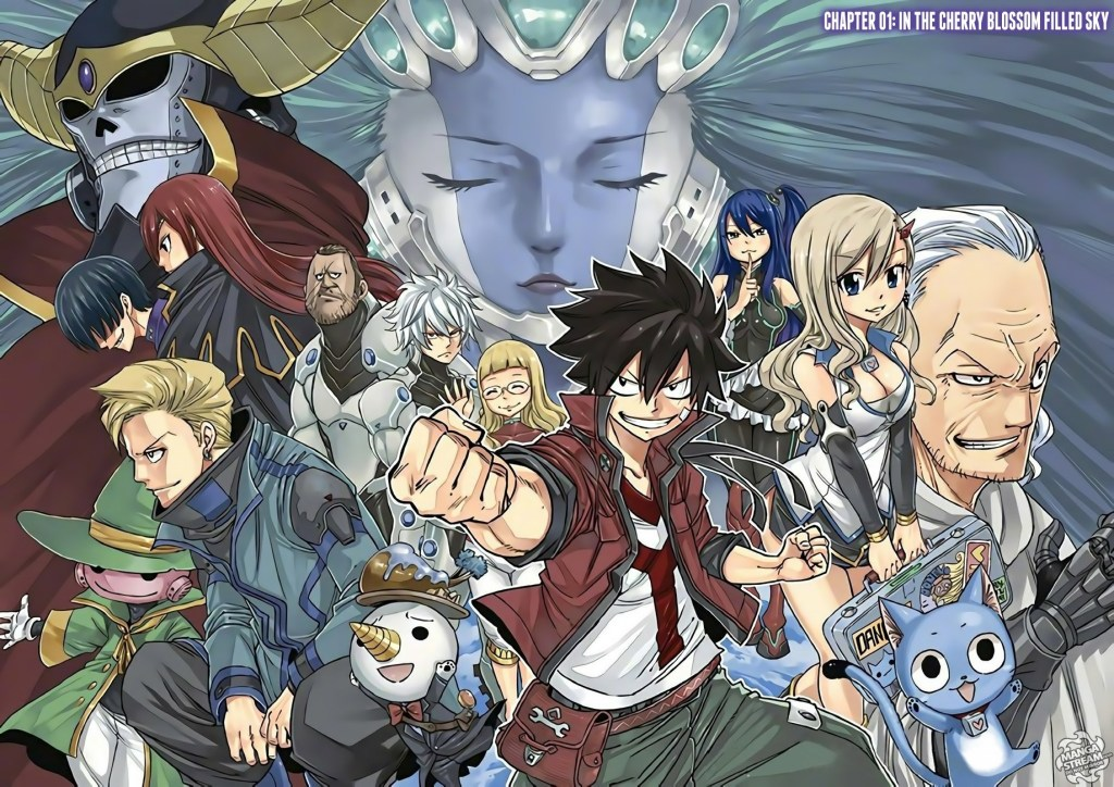 Cover of Edens Zero Chapter 1 with Many of Edens Zero's characters that resemble Fairy Tail's