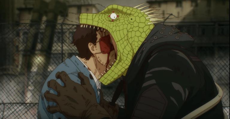 Kaiman and Matsumura in Episode 1 of Dorohedoro