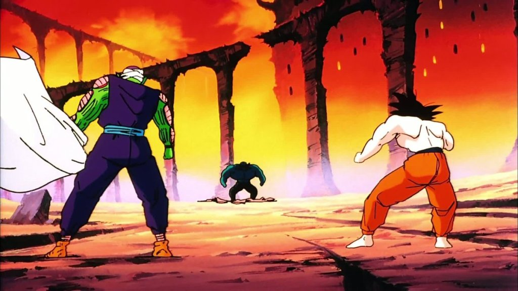 Piccolo and Goku prepared to fight Garlic Jr. in Dragon Ball Z Dead Zone.