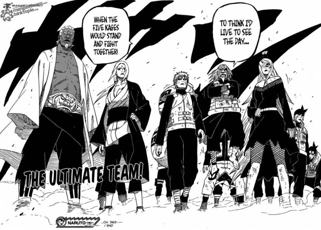 The Five Hokage join forces and prepare to battle Madara