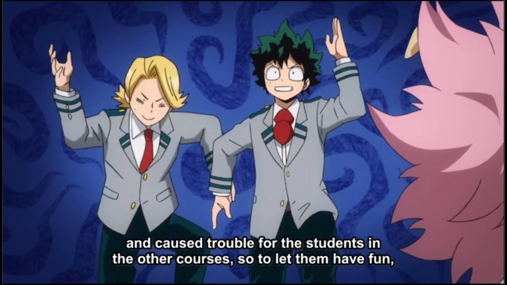 Izuku and Yuga learning to dance in episode 18 of My Hero Academia