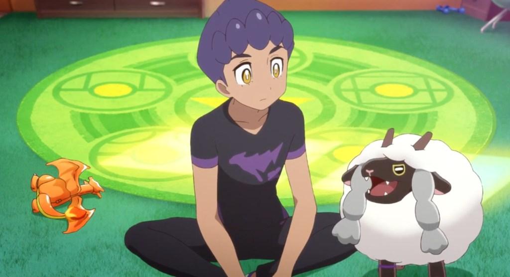 Image of Hop (left) and Wooloo imitating Charizard, in episode 3 of Pokemon: Twilight Wings