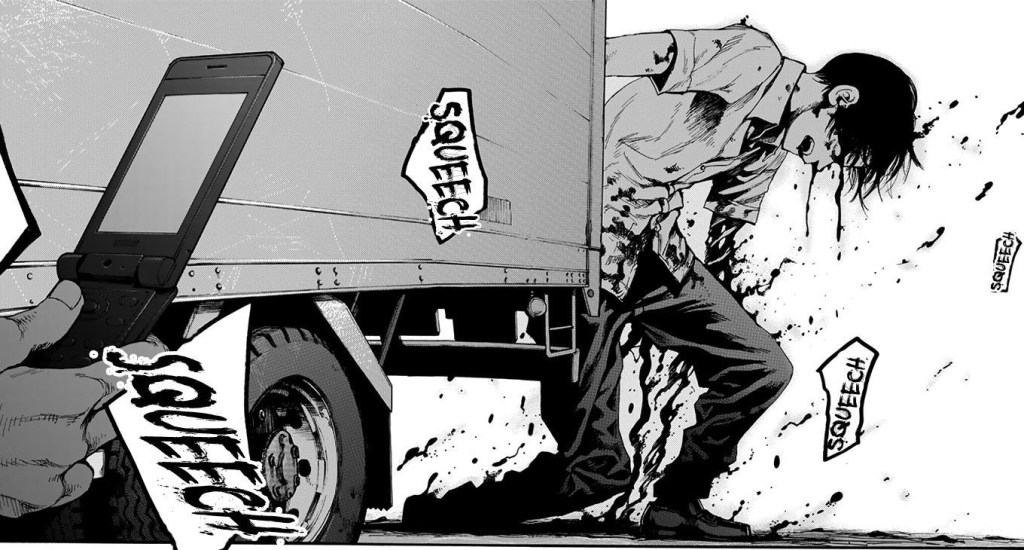Ajin: Demi-human Volume 1. Kei gets up after being hit by a truck.