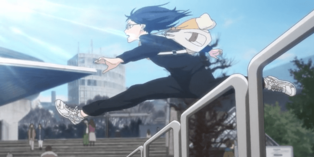 In Haikyuu!! Fourth Season episode 10, Kiyoko rushes to catch the bus.