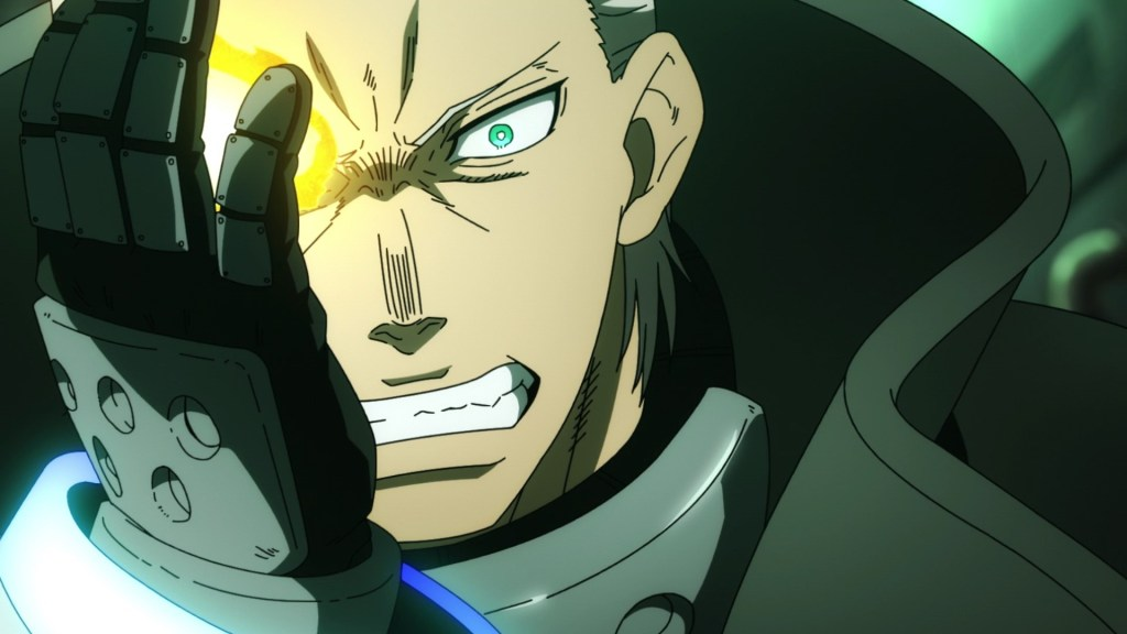 Captain Burns after losing his eye in episode 13 of Fire Force