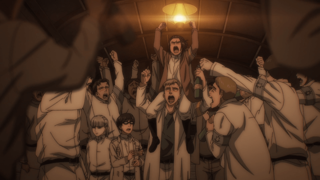 Gabi is celebrates for her heroism in episode 2 of Attack on Titan.