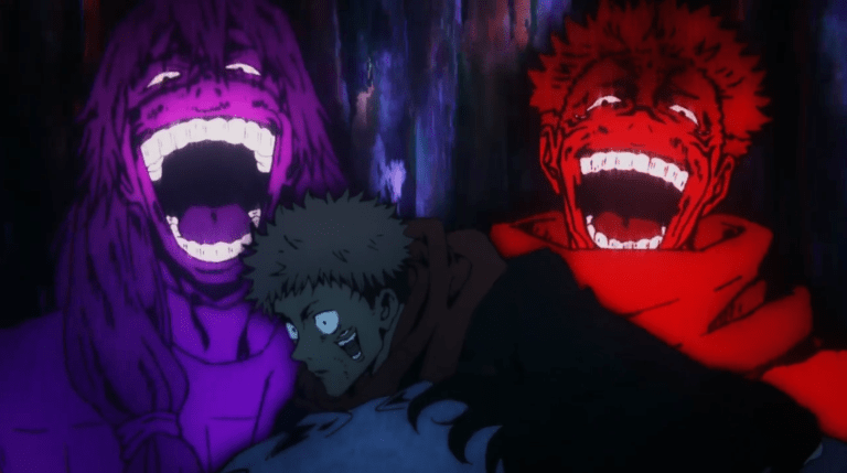Sukuna and Mahito laughing at Yuji's pain in episode 12 of Jujutsu Kaisen.