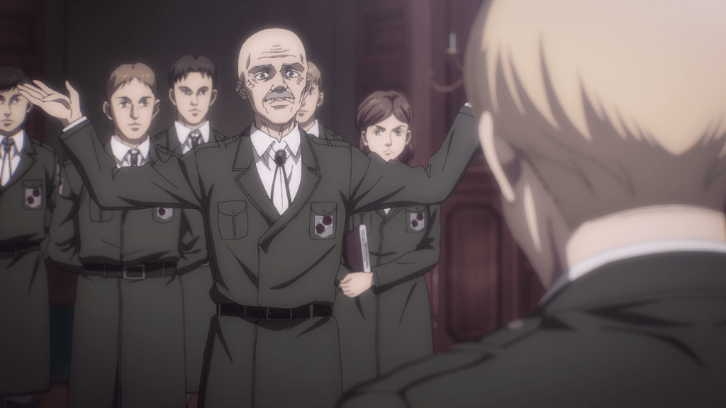 Dot Pyxis suggests giving up in episode 12 of Attack on Titan.