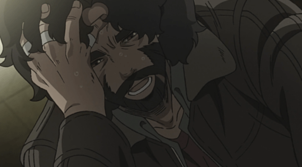 Joe suffering from withdrawl in episode 2 of Megalo Box 2.