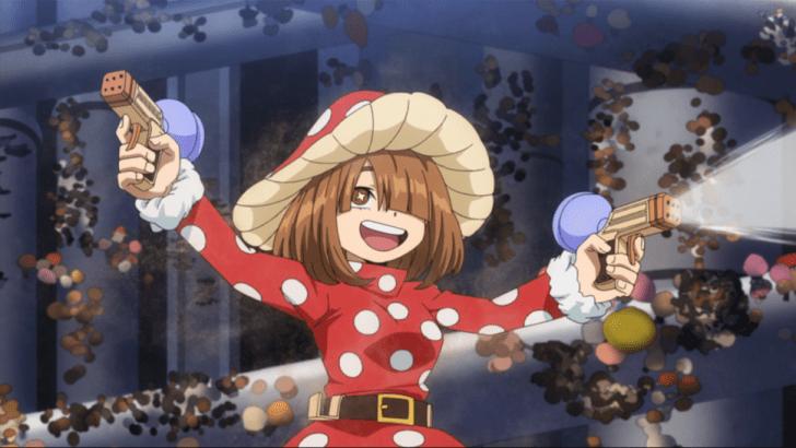 Kinoko Komori spraying to make her mushrooms grow more.
