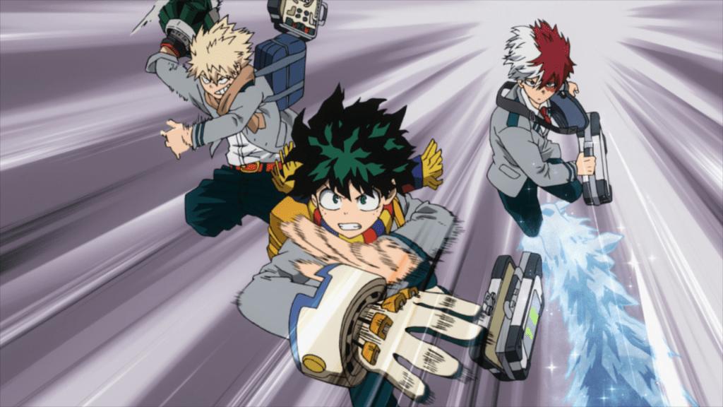 Deku, Bakugo, and Shoto spring into action in episode 14 of My Hero Academia