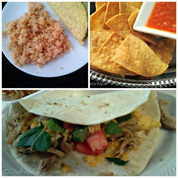 carnitas rice chips and salsa
