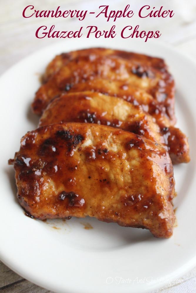 Cranberry Apple Cider Glazed Pork Chops #ad #SmithfieldPork