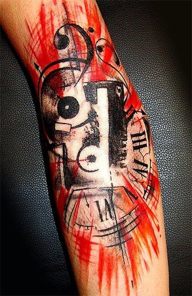 Красочная татуировка треш в виде кассеты