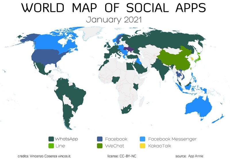 La carte des applications les plus utilisees au monde 2021