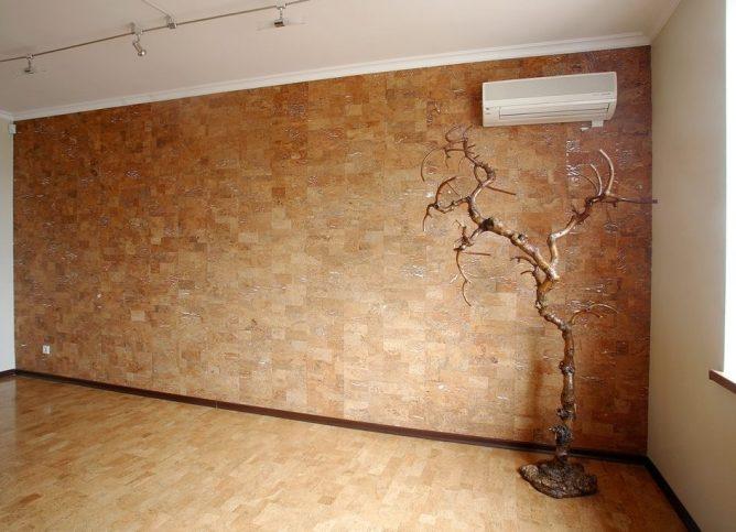 пробковые стеновые панели в спальне
