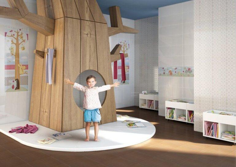 керамическая плитка на полу в детской